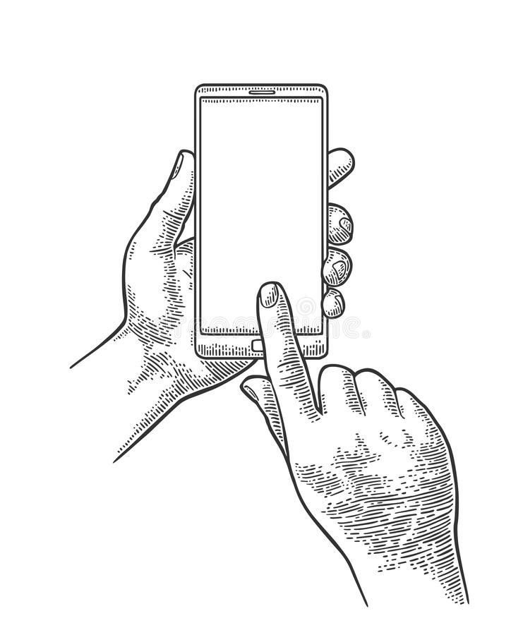 Smartphone hold male hand. Vintage engraving royalty free illustration