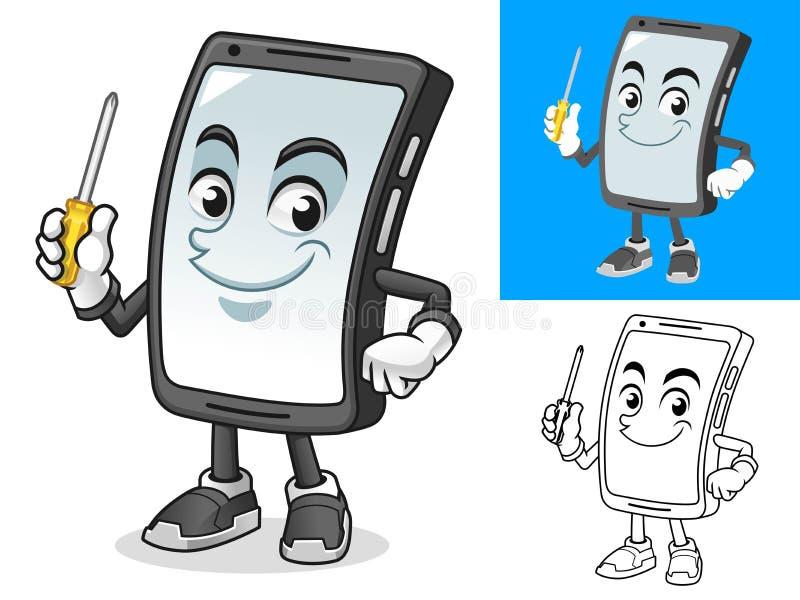 Smartphone Holding Screwdriver Cartoon Character Mascot Illustration stock illustration