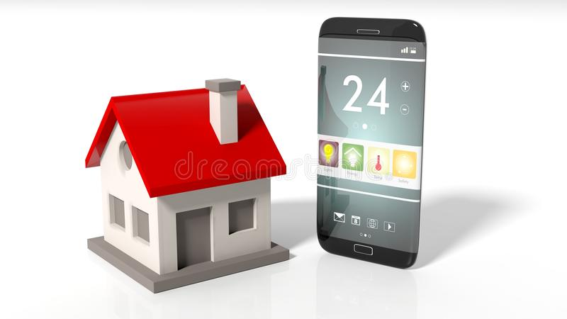 Smartphone with home remote control screen and house icon vector illustration