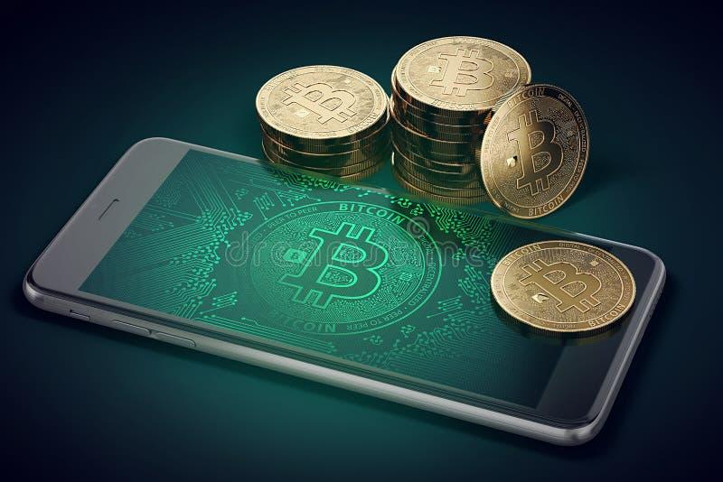 Smartphone horizontal avec le symbole de Bitcoin à l'écran et la pile de Bitcoins d'or illustration de vecteur