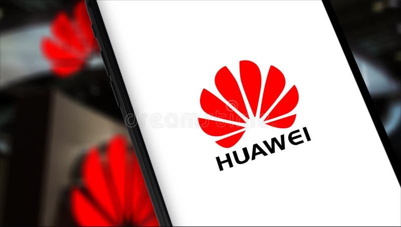 Huawei logo. Smartphone with Huawei logo. Huawei Technologies Co. Ltd. is Chinese multinational telecommunications equipment, consumer electronics manufacturer stock image