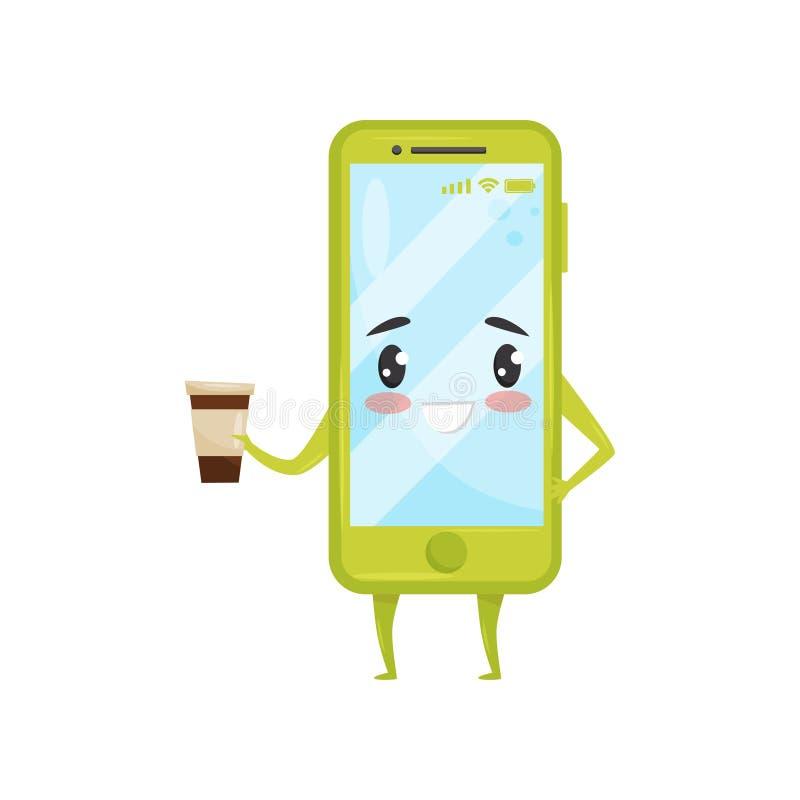 Smartphone humanisé vert tenant la tasse de café Téléphone portable avec le visage adorable le chef heureux de crabots mignons ef illustration stock