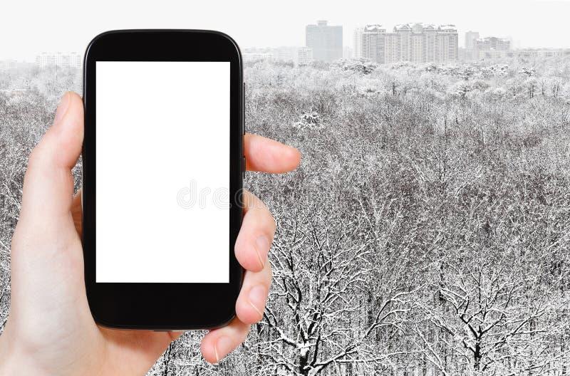 Smartphone i śnieżny lasowy pobliski miasto zdjęcie royalty free