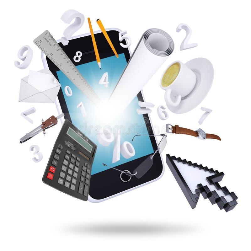 Smartphone i biurowe dostawy royalty ilustracja
