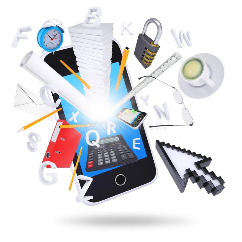 Smartphone i biurowe dostawy ilustracji