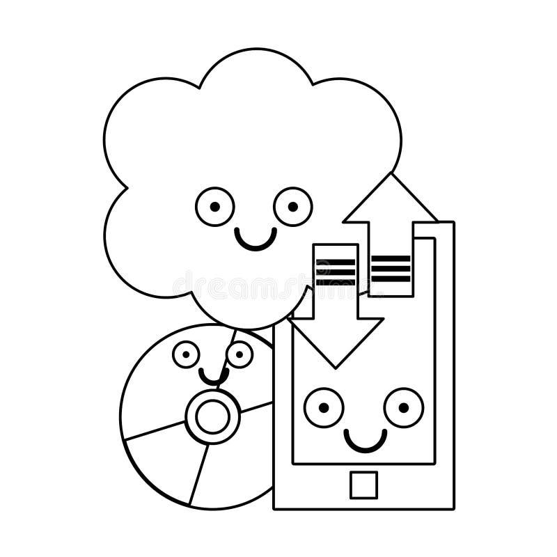 Smartphone i chmura oblicza z cd rom w czarny i bia?y royalty ilustracja