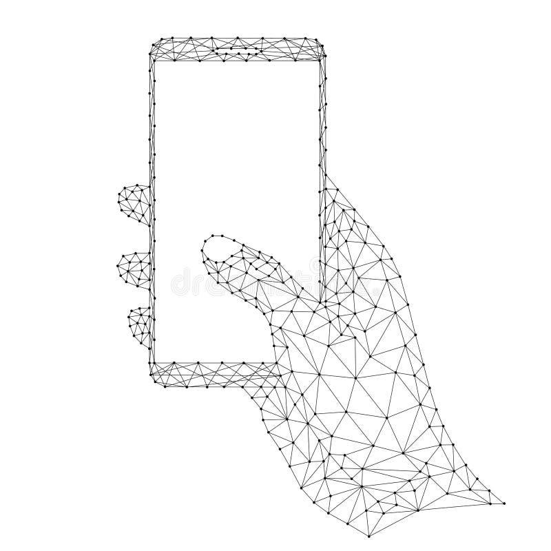 Smartphone i en mänsklig hand, mobiltelefonkommunikationshjälpmedel, apparatdataöverföring från abstrakt futuristisk polygonal sv royaltyfri illustrationer