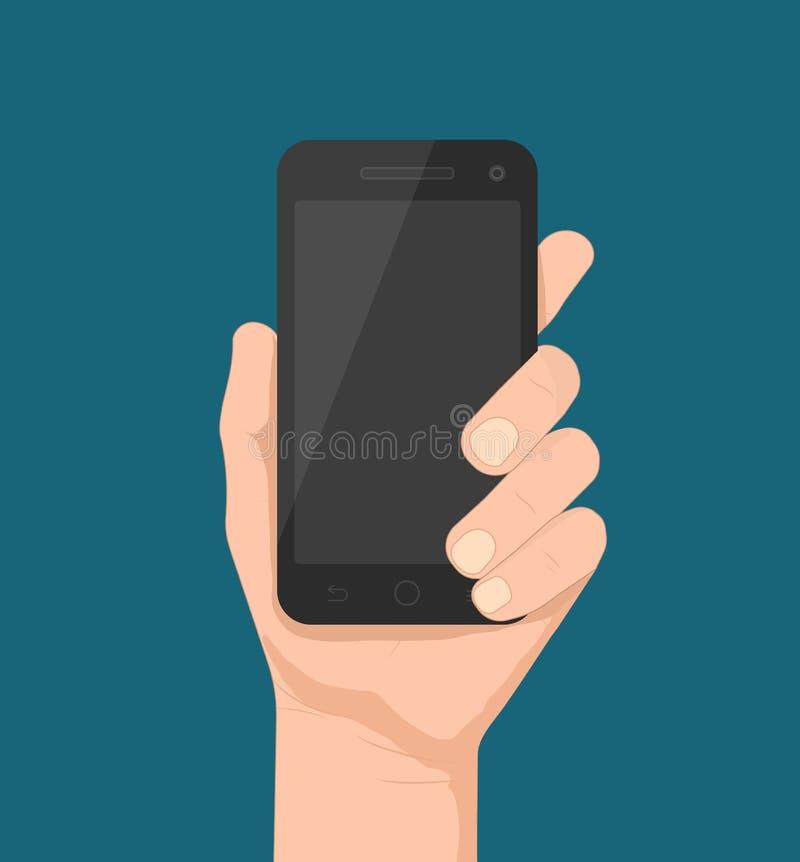 Smartphone i hand vektor illustrationer