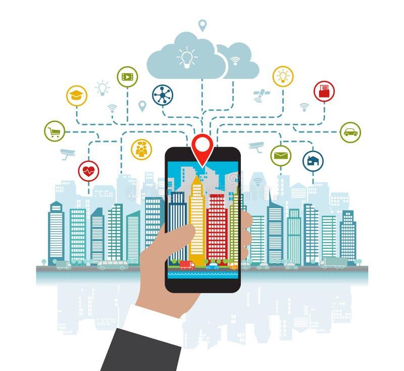 Smartphone i hand hjälper att fokusera i en smart stad med avancerat ilar service och ökad verklighet, social nätverkande vektor illustrationer