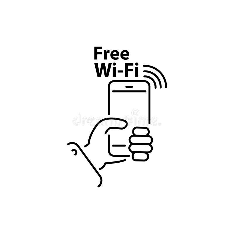 Smartphone i hand och den fria Wi-FI linjen för inskrift, linjär vektorsymbol, tecken, symbol N?tverk vektor illustrationer