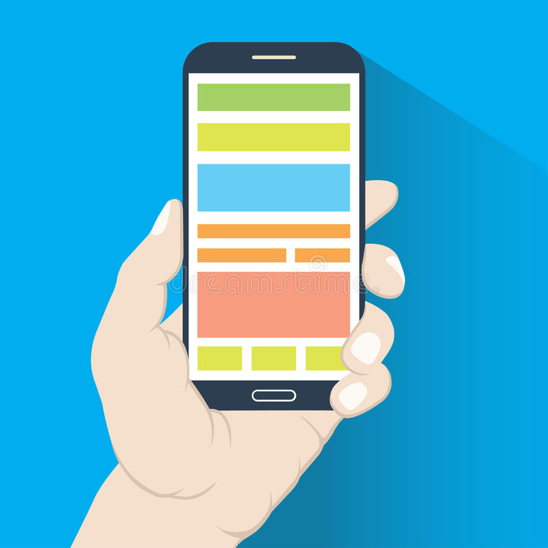 Smartphone i hand. Plan design vektor illustrationer