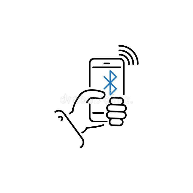 Smartphone i handen och inskriftbluetoothlinjen, linjär vektorsymbol, tecken, symbol N?tverk royaltyfri illustrationer