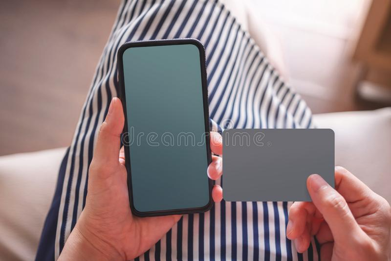 Smartphone i Karciani Mockup wizerunki obrazy stock