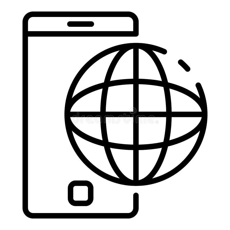 Smartphone i kuli ziemskiej ikona, konturu styl royalty ilustracja
