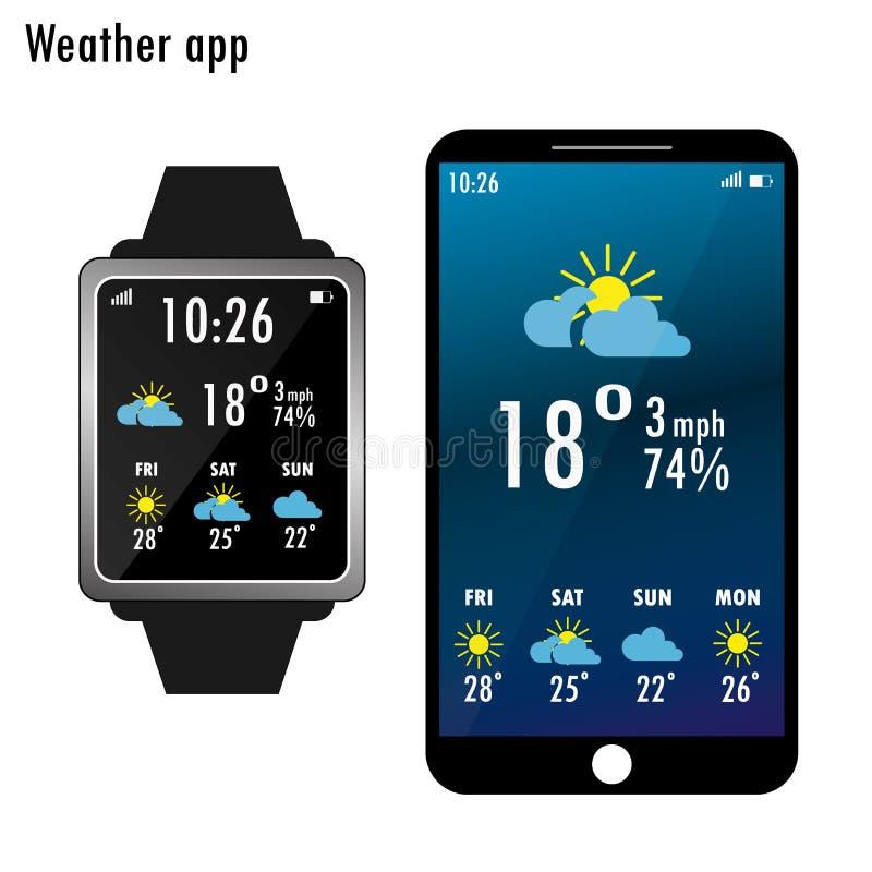 Smartphone i mądrze zegarek z pogodą app na ekranie mieszkanie royalty ilustracja