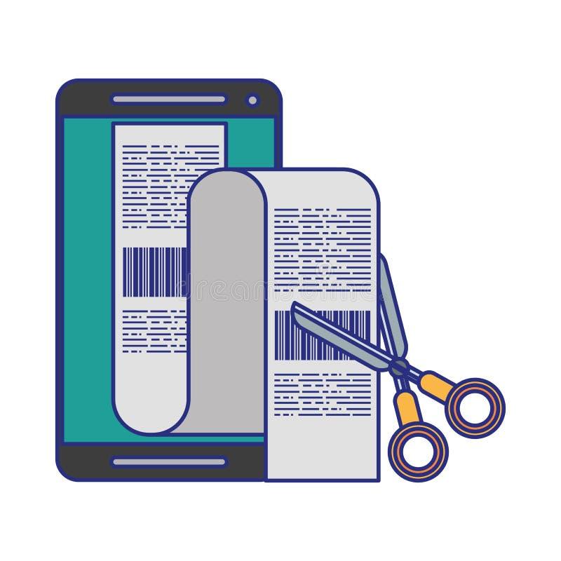 Smartphone i nożyce ciie rachunek odosobnione niebieskie linie ilustracji