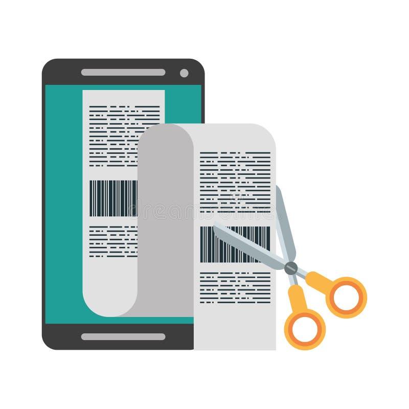 Smartphone i nożyce ciie rachunki odizolowywających ilustracji