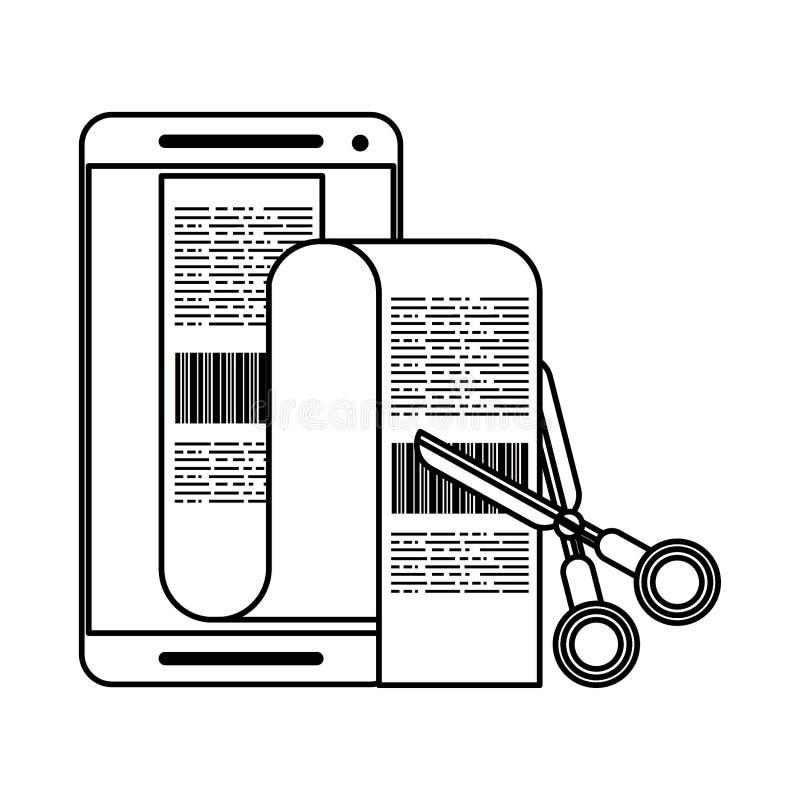 Smartphone i nożyce ciie rachunki odizolowywających w czarny i biały ilustracja wektor