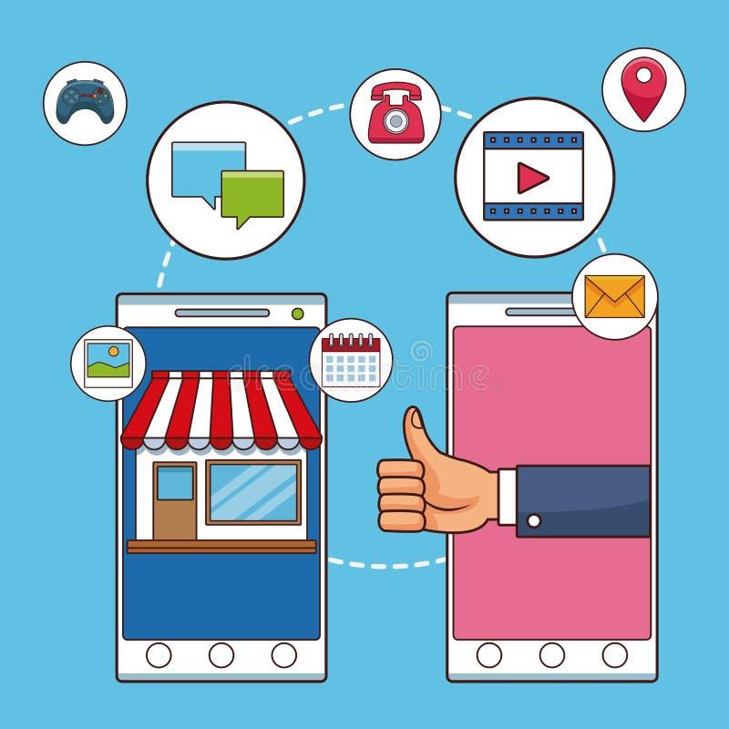 Smartphone i ogólnospołeczna sieć ilustracja wektor