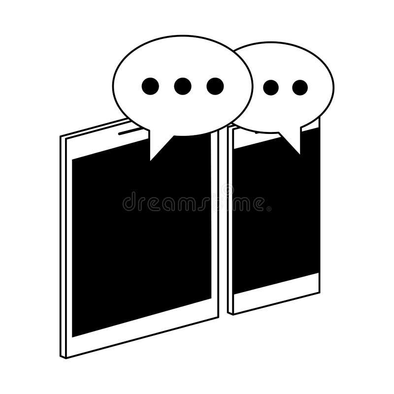 Smartphone i pastylka z gadka bąbli symbolami w czarny i biały royalty ilustracja
