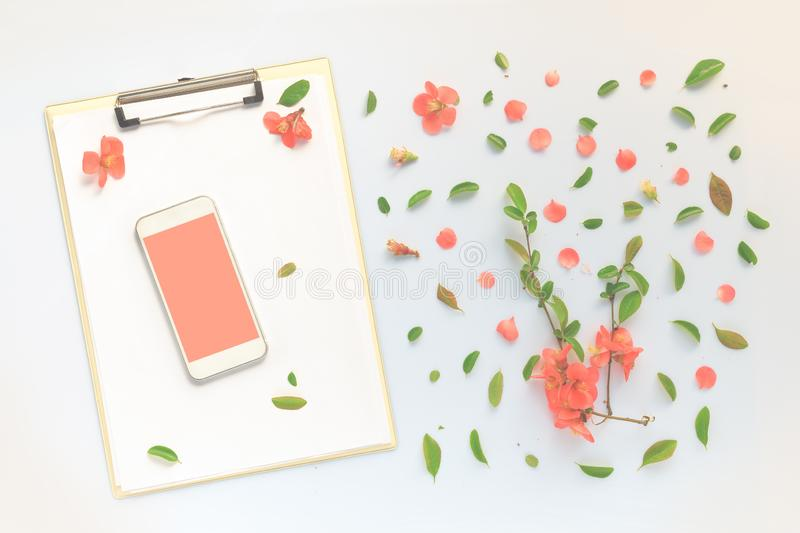 Smartphone i schowka egzamin pr?bny z w g?r? kwiecistego dekoracji mieszkania nieatutowego zdjęcie stock