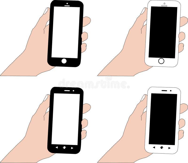 Smartphone i svartvit färg med den vita skärmen och den svarta skärmen i handtaget arkivbild