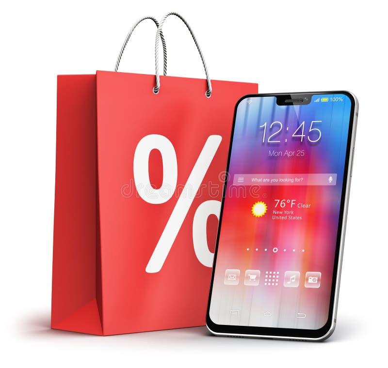 Smartphone i torba na zakupy z procentu rabata sprzedażą podpisujemy ilustracji