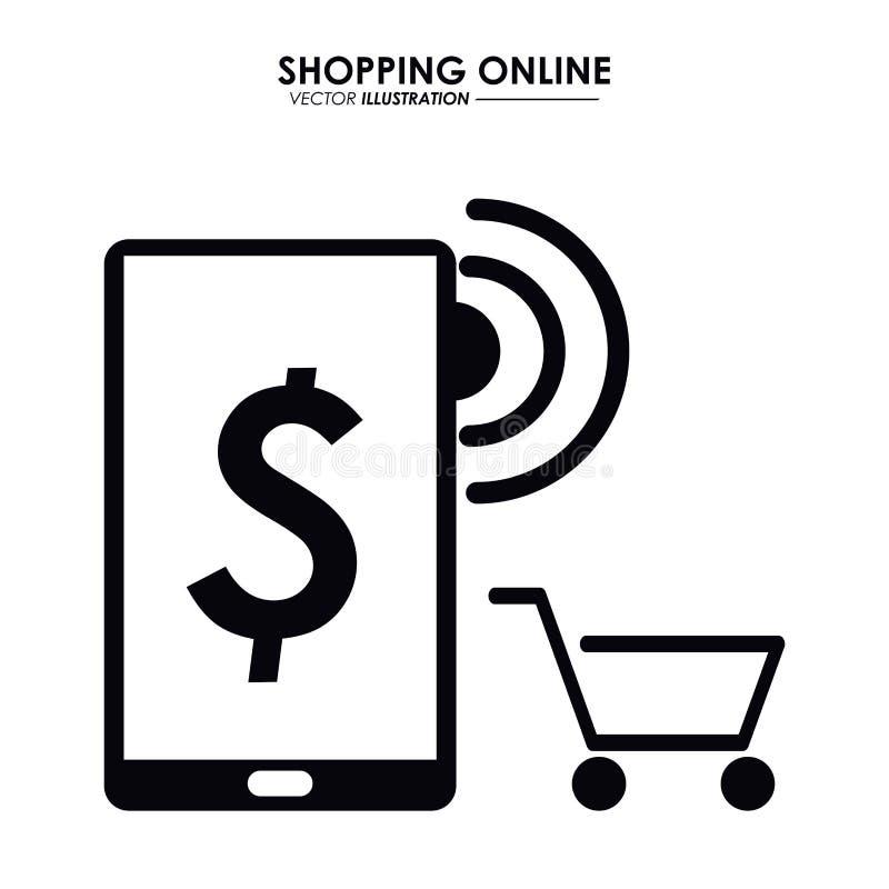 Smartphone i wózek na zakupy TARGET128_1_ online gdy dekoracyjna tło grafika stylizował wektorowe zawijas fala royalty ilustracja