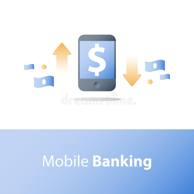 Smartphone i wymiana walut, dolarowy znak, mobilna zapłata, online bankowość, pieniężne usługa ilustracja wektor