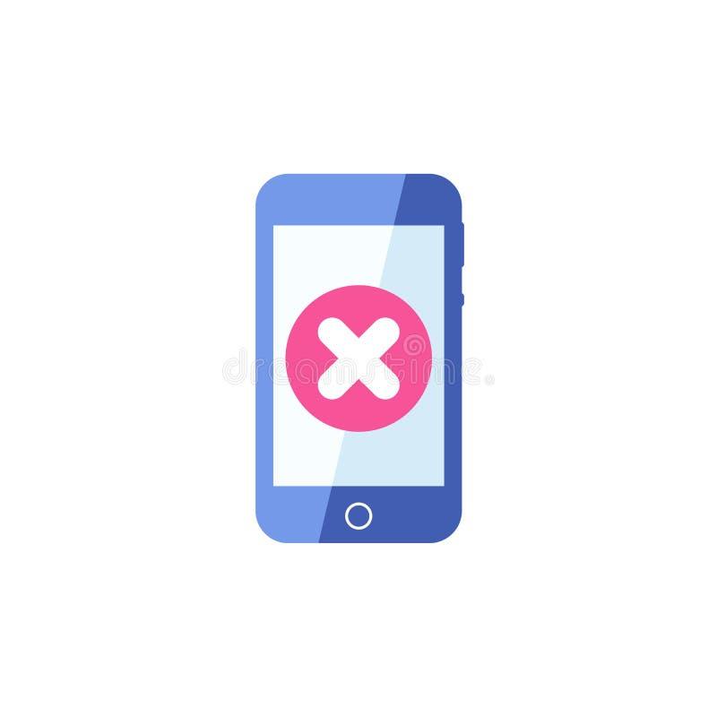 Smartphone icon, Cellphone, handphone icon with cancel sign. Smartphone icon and close, delete, remove symbol. Vector stock illustration