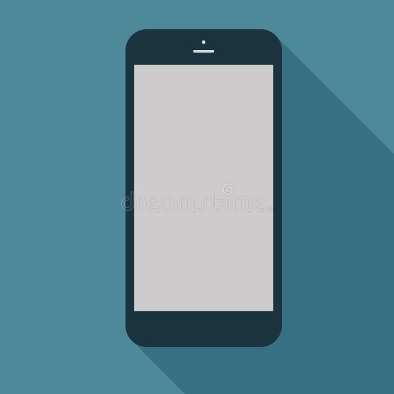 Smartphone icon in flat design on the blue background. Vector il stock illustration