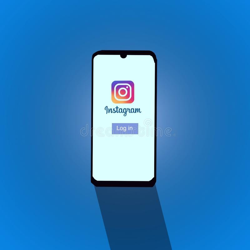 Smartphone with icon of social media instagram ilustration. Social, network, post, frame, your, photo, ilustration, love, template, blank, concept, icon stock illustration