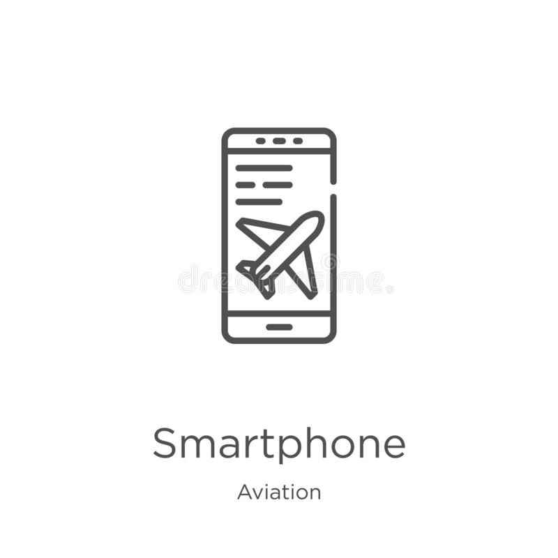 Smartphone icon vector from aviation collection. Thin line smartphone outline icon vector illustration. Outline, thin line. Smartphone icon. Element of aviation royalty free illustration