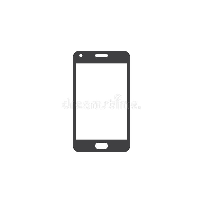 Smartphone icon vector, mobile phone solid logo illustration, pi stock illustration
