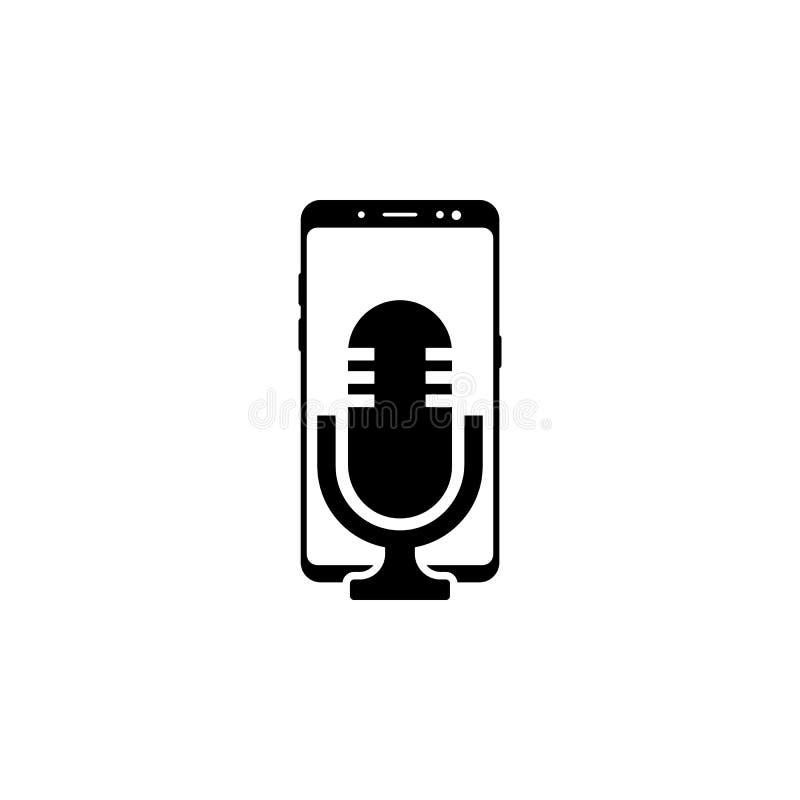 smartphone, icono del vector del micrófono para las páginas web y diseño plano minimalistic móvil ilustración del vector