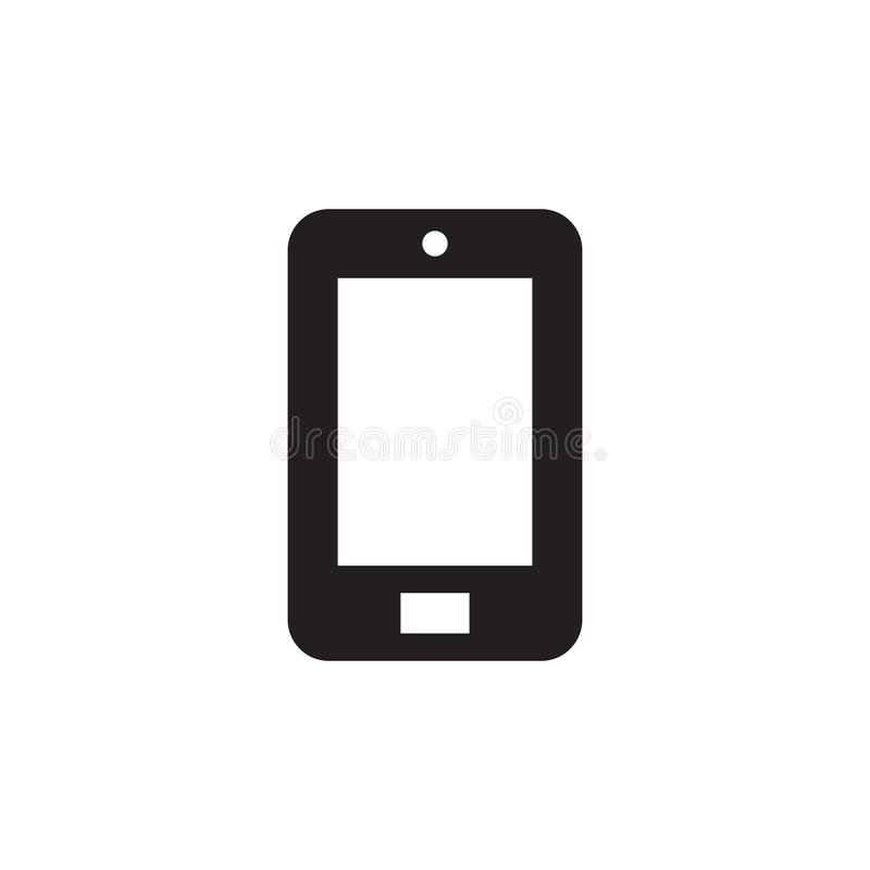 Smartphone - icono negro en el ejemplo blanco del vector del fondo para la página web, aplicación móvil, presentación, infographi stock de ilustración