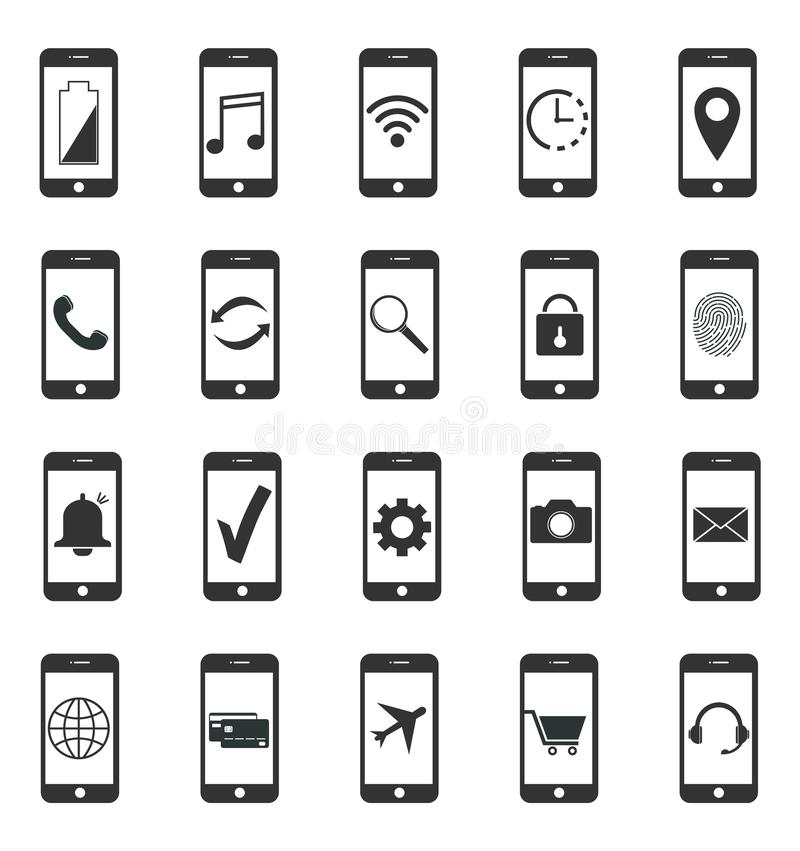 Smartphone icons. Functions smartphone. Smartphone icons, Functions smartphone royalty free illustration
