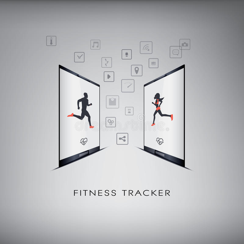 Smartphone icons for monitoring health and fitness royalty free illustration