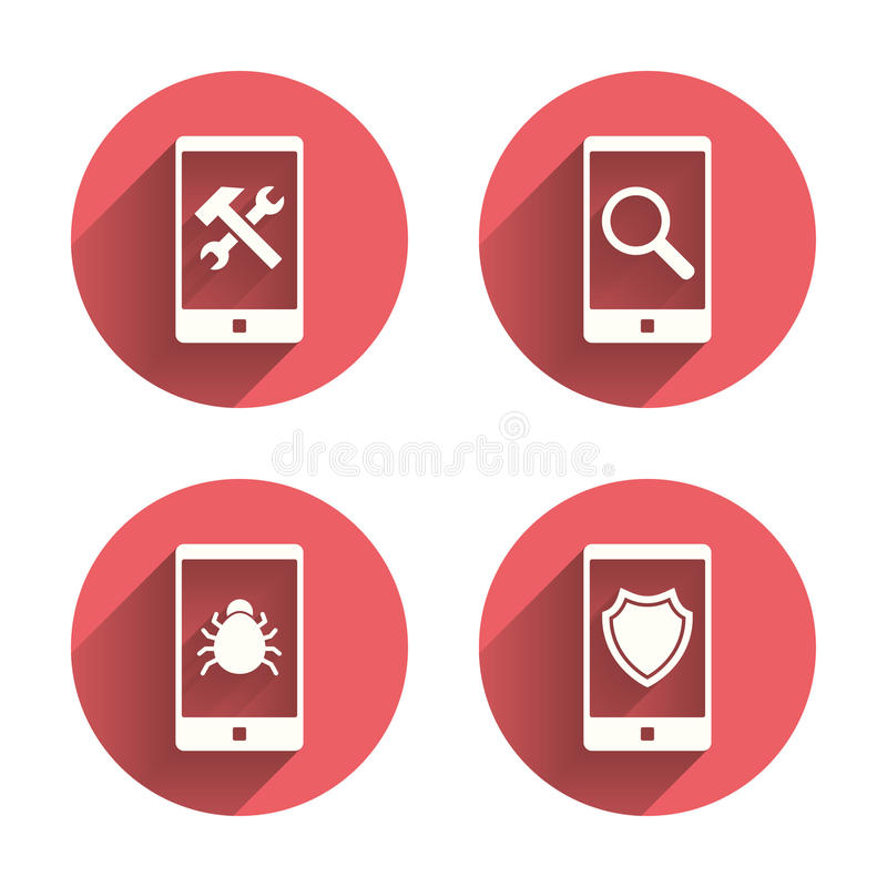 Smartphone icons. Shield protection, repair, bug vector illustration