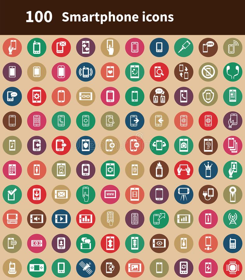 Smartphone 100 icons universal set for. Web and mobile stock illustration