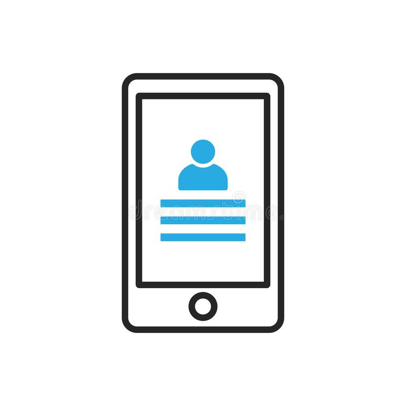 Smartphone ikona Mobilni kontakty ilustracji