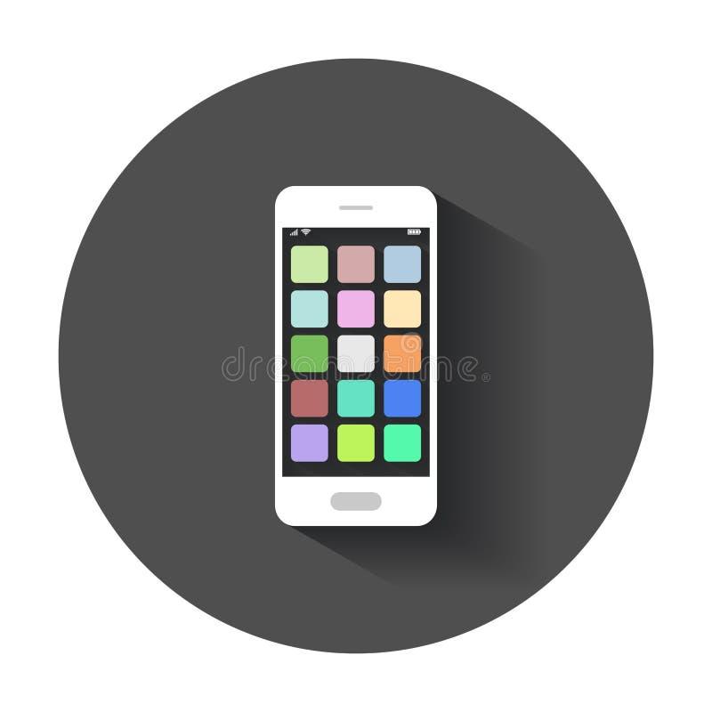 Smartphone ikona z app ilustracja wektor