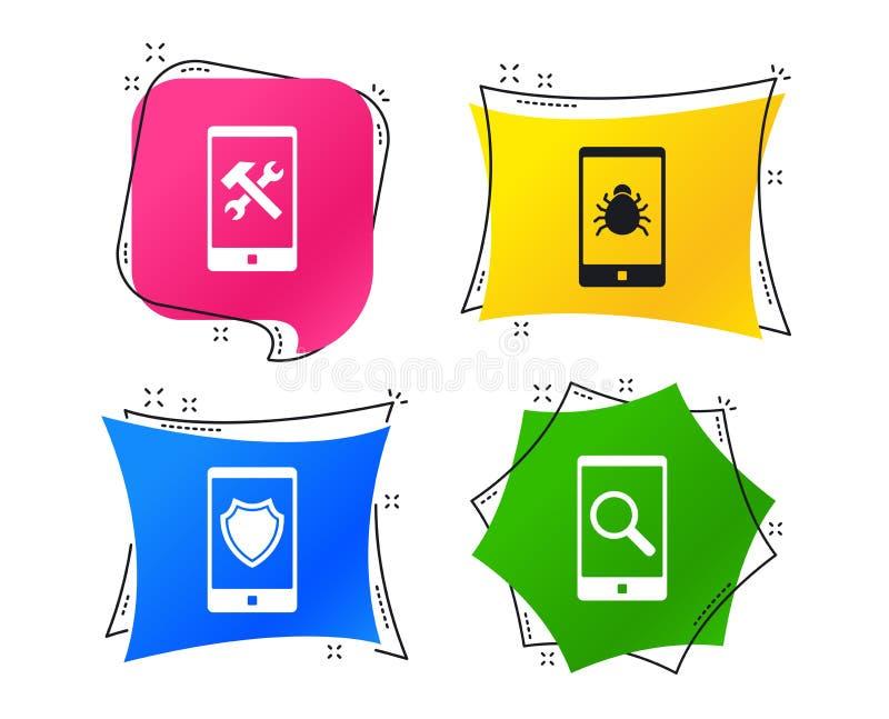 Smartphone ikony Osłony ochrona, naprawa, pluskwa wektor royalty ilustracja