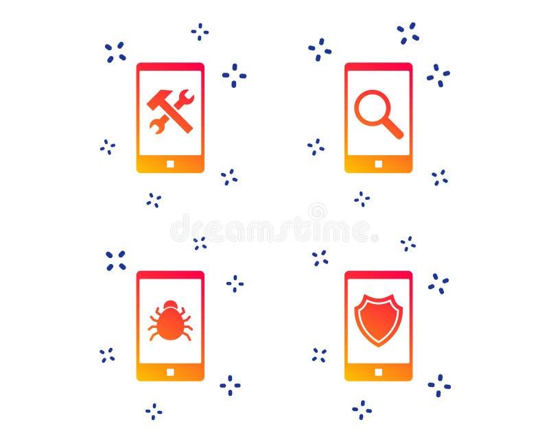Smartphone ikony Os?ony ochrona, naprawa, pluskwa wektor royalty ilustracja