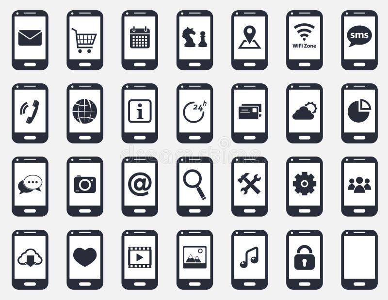 Smartphone ikony set ilustracja wektor