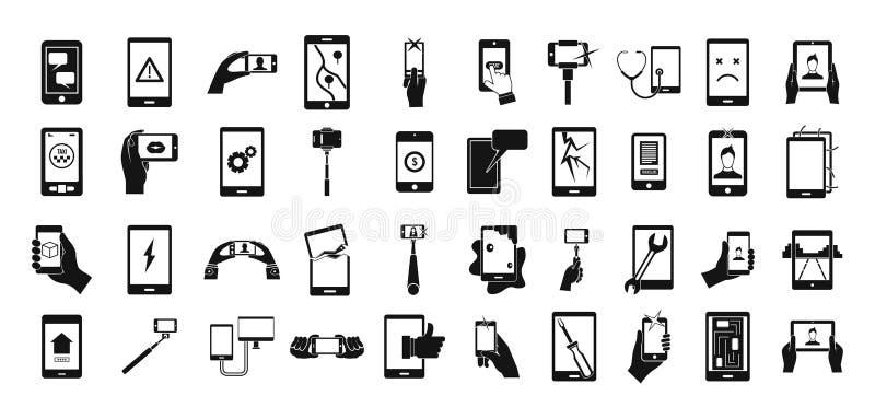 Smartphone ikony set, prosty styl ilustracji