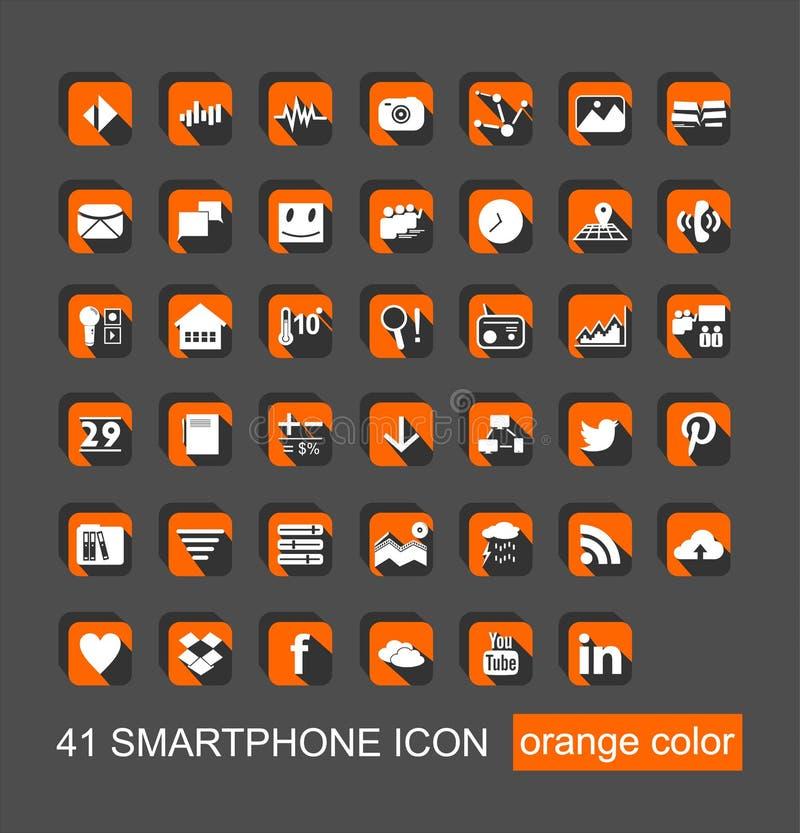 41 Smartphone ikony Ustalony wektor ilustracja wektor