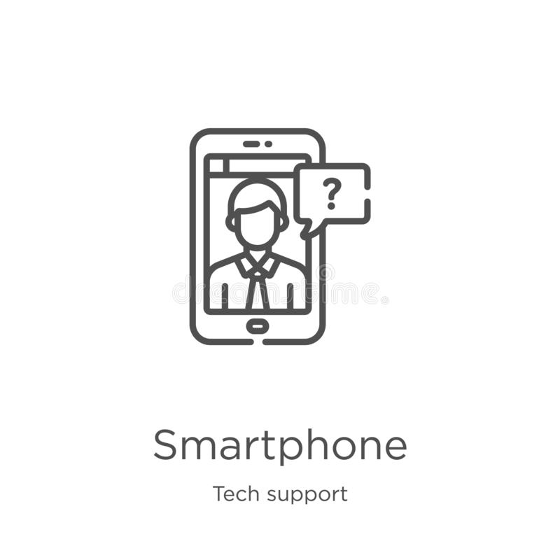 smartphone ikony wektor od techniki poparcia kolekcji Cienka kreskowa smartphone konturu ikony wektoru ilustracja Kontur, cieniej ilustracji