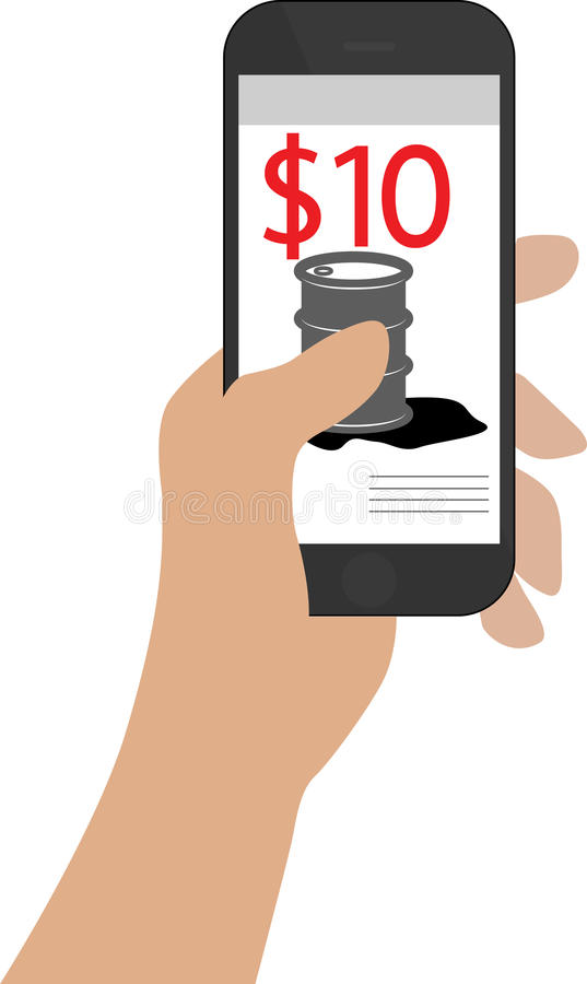 Smartphone Illustration - and held in hand on a white background, with oil price on screen symbolizing crash in prices at royalty free stock photo
