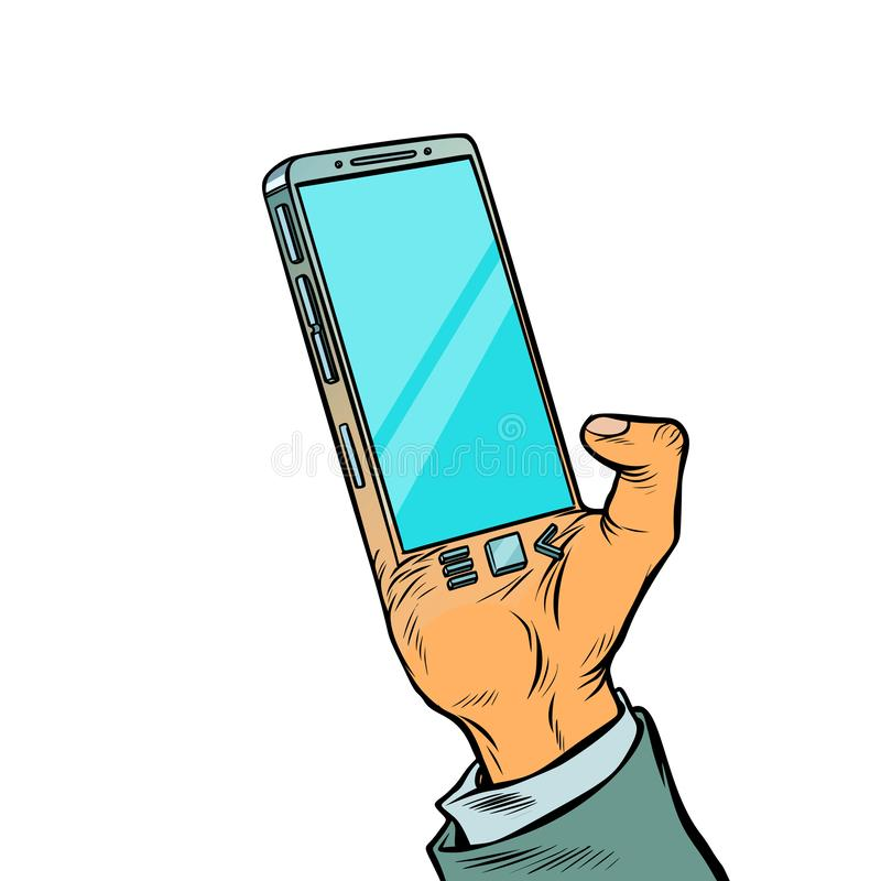 Smartphone is implanted in the human body. Biohacking. Comic cartoon pop art retro vector illustration drawing stock illustration